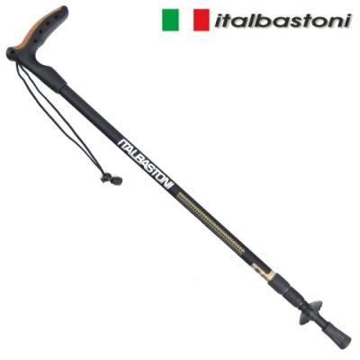義大利 italbastoni COMPAKT 極輕巧鋁合金T型握把登山杖-黑