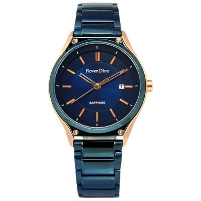羅梵迪諾 Roven Dino 藍寶石水晶玻璃 日期 不鏽鋼手錶 藍x玫瑰金框/32mm