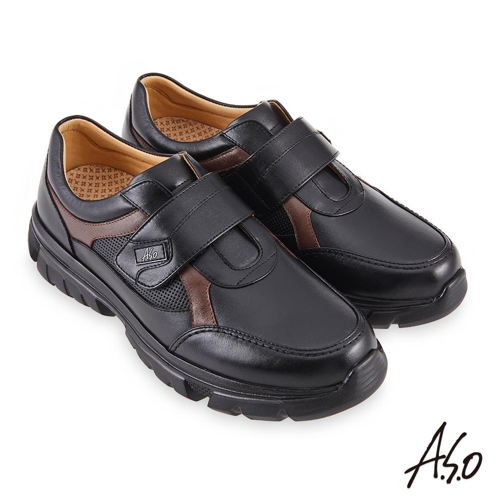 A.S.O 機能休閒 勁步健康魔鬼氈商務休閒鞋-黑