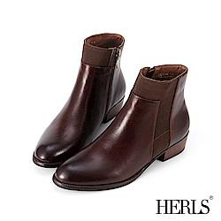 HERLS 完美線條 真皮鬆緊拼接素面粗跟短靴-深棕色