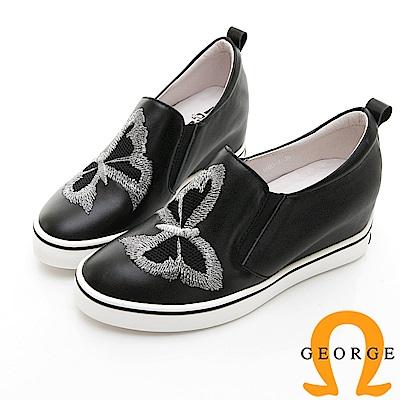 【GEORGE 喬治皮鞋】甜美蝴蝶彈力內增高休閒鞋-黑色