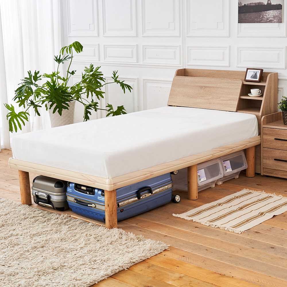 時尚屋 佐野3.5尺床箱型高腳加大單人床