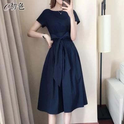 初色  法式純色綁帶連身裙-共5色-(M-2XL可選)