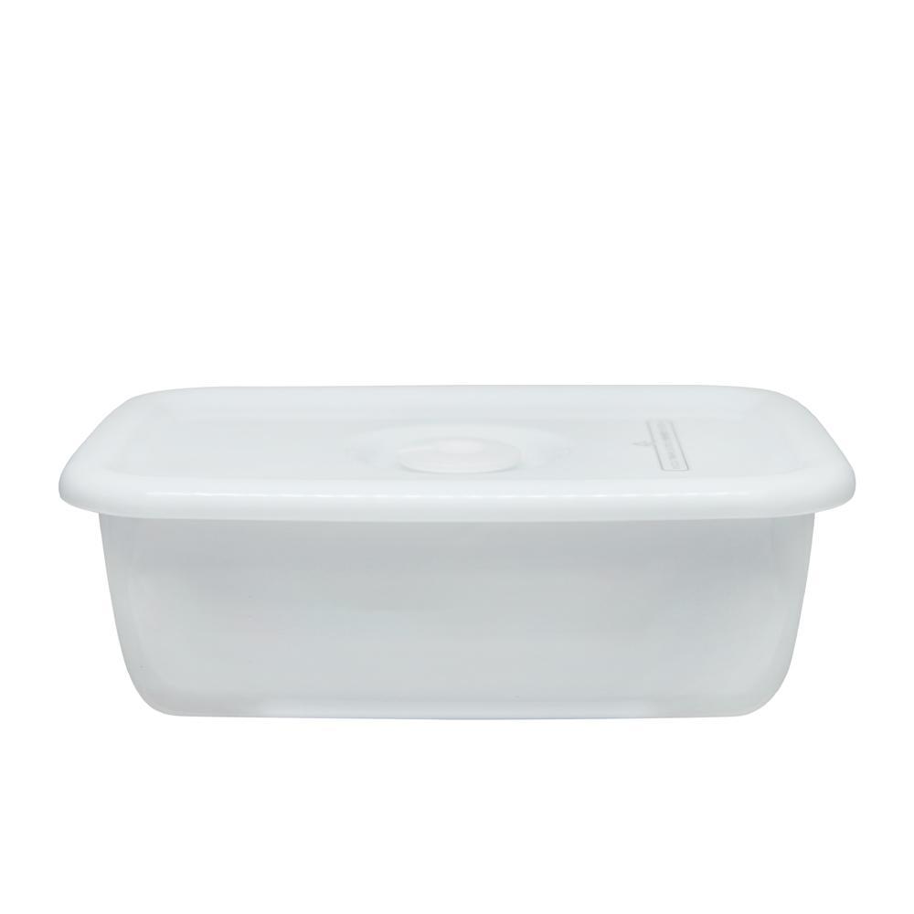 野田琺瑯 White Series系列長型密封盒(樹脂蓋.0.62L)
