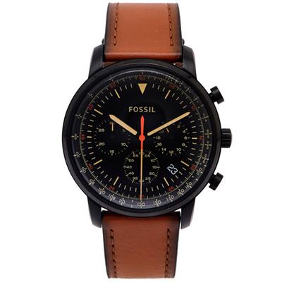 FOSSIL 經典款個性風計時的皮帶手錶(FS5501)-黑面X咖啡色/44mm