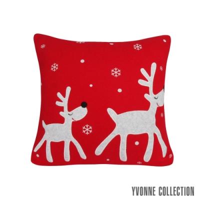 Yvonne Collection 馴鹿雪花抱枕(45x45cm)-紅