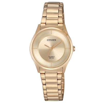 CITIZEN 星辰光動能LADY簡約時尚手錶ER0205-80X-金/27mm