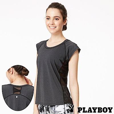 PLAYBOY 透氣側網紗瑜珈運動上衣(PL6318002)