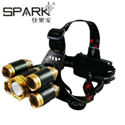 SPARK 大功率伸縮調焦T6充電式5LED頭燈 H017