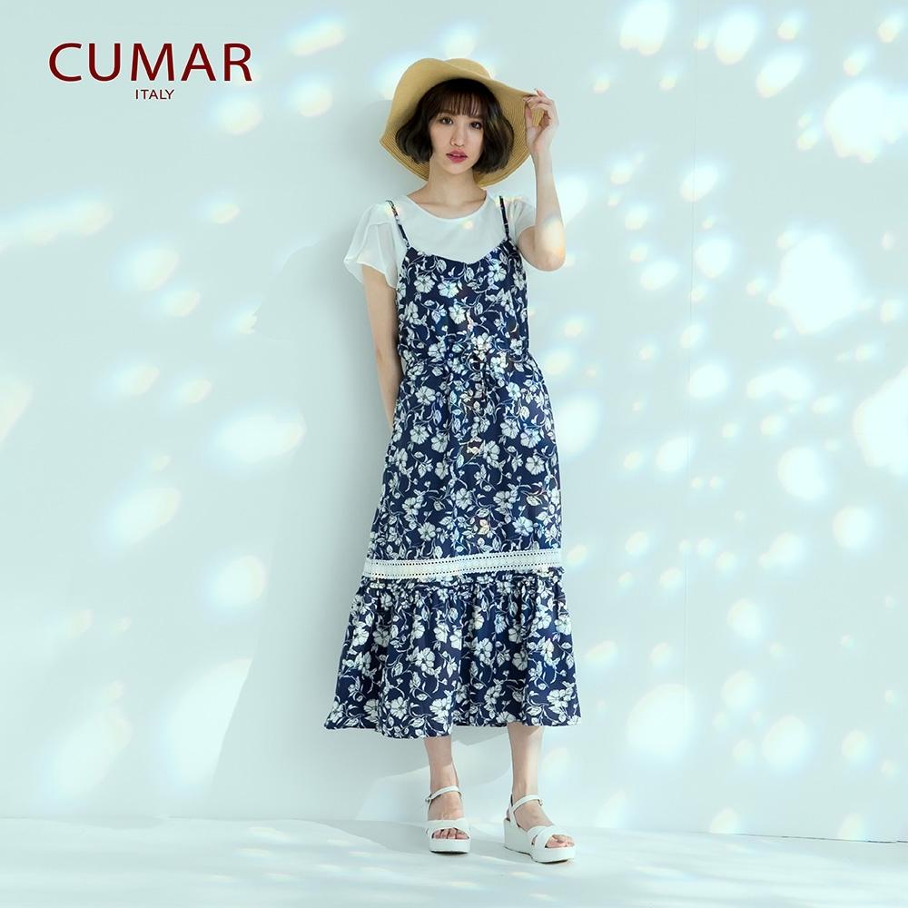 【CUMAR】浪漫碎花滾邊蕾絲-洋裝(二色/版型適中)