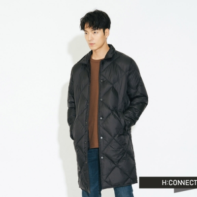 H:CONNECT 韓國品牌 男裝 - 素面長版羽絨外套  - 黑
