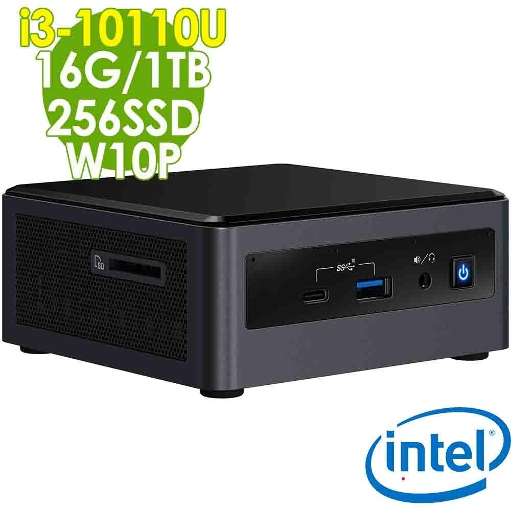 Intel 雙碟迷你電腦 NUC i3-10110U/16G/256SSD+1TB/W10