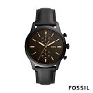 FOSSIL TOWNSMAN 咖啡錶面黑色皮革手錶(FS5585)