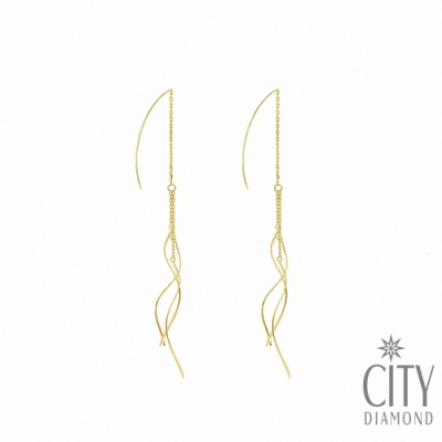 City Diamond引雅【東京Yuki系列】18K流線波浪黃K金線耳耳環