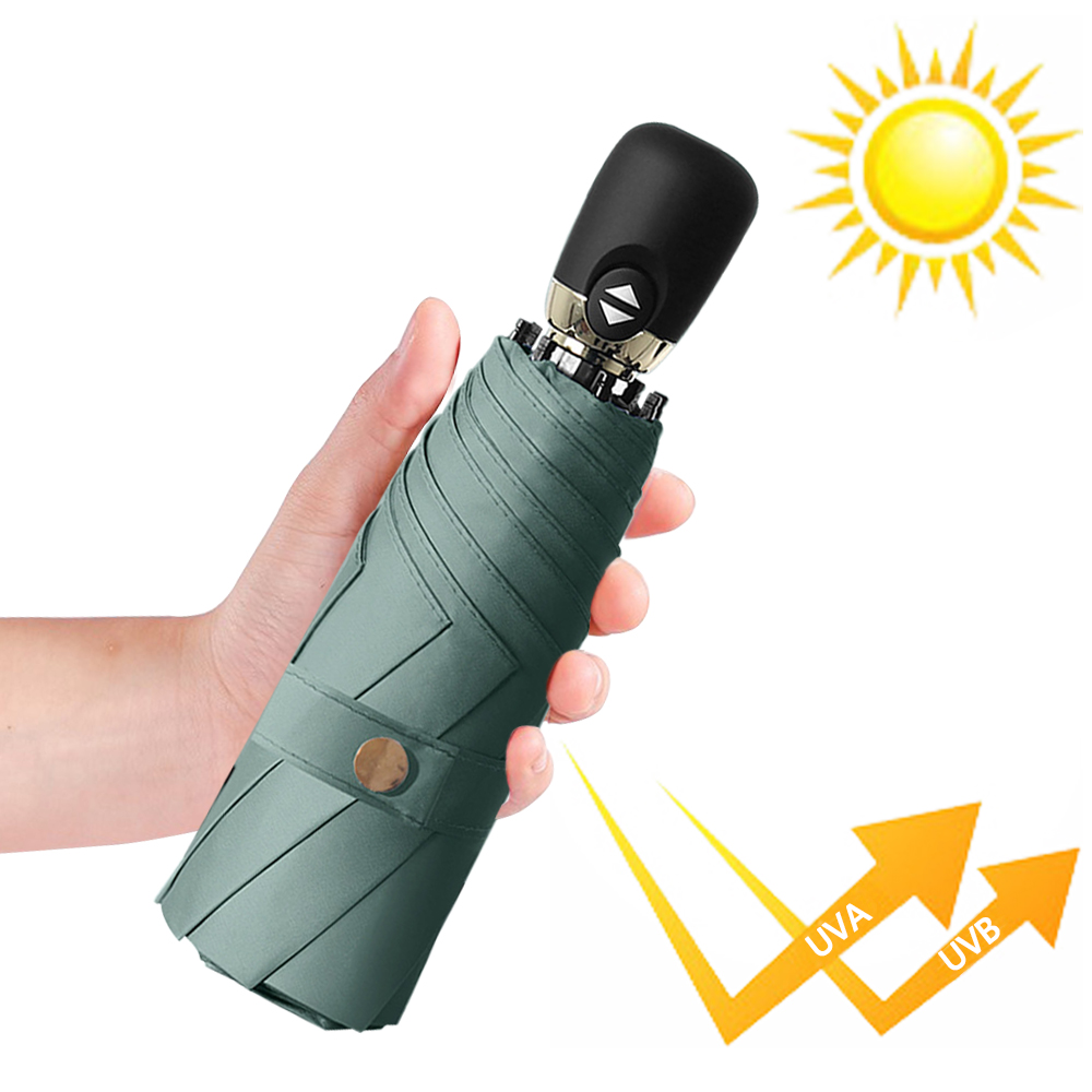 幸福揚邑  鈦防曬抗UV降溫UPF50+全自動8骨晴雨口袋迷你五折疊傘-夜綠
