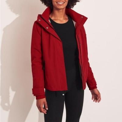 海鷗 Hollister 年度熱銷經典標誌防風防潑水風衣外套(女)-紅色
