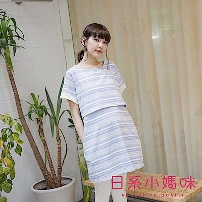 日系小媽咪孕婦裝-哺乳衣~柔美感寬細條紋肩鈕釦洋裝 (共二色)