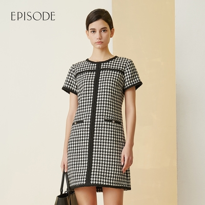 EPISODE - 氣質百搭千鳥格紋滾邊圓領短袖洋裝(黑)