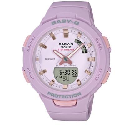 BABY-G 閃耀熱血女孩運動計步藍芽錶-粉紫(BSA-B100-4A2)/49.6 mm