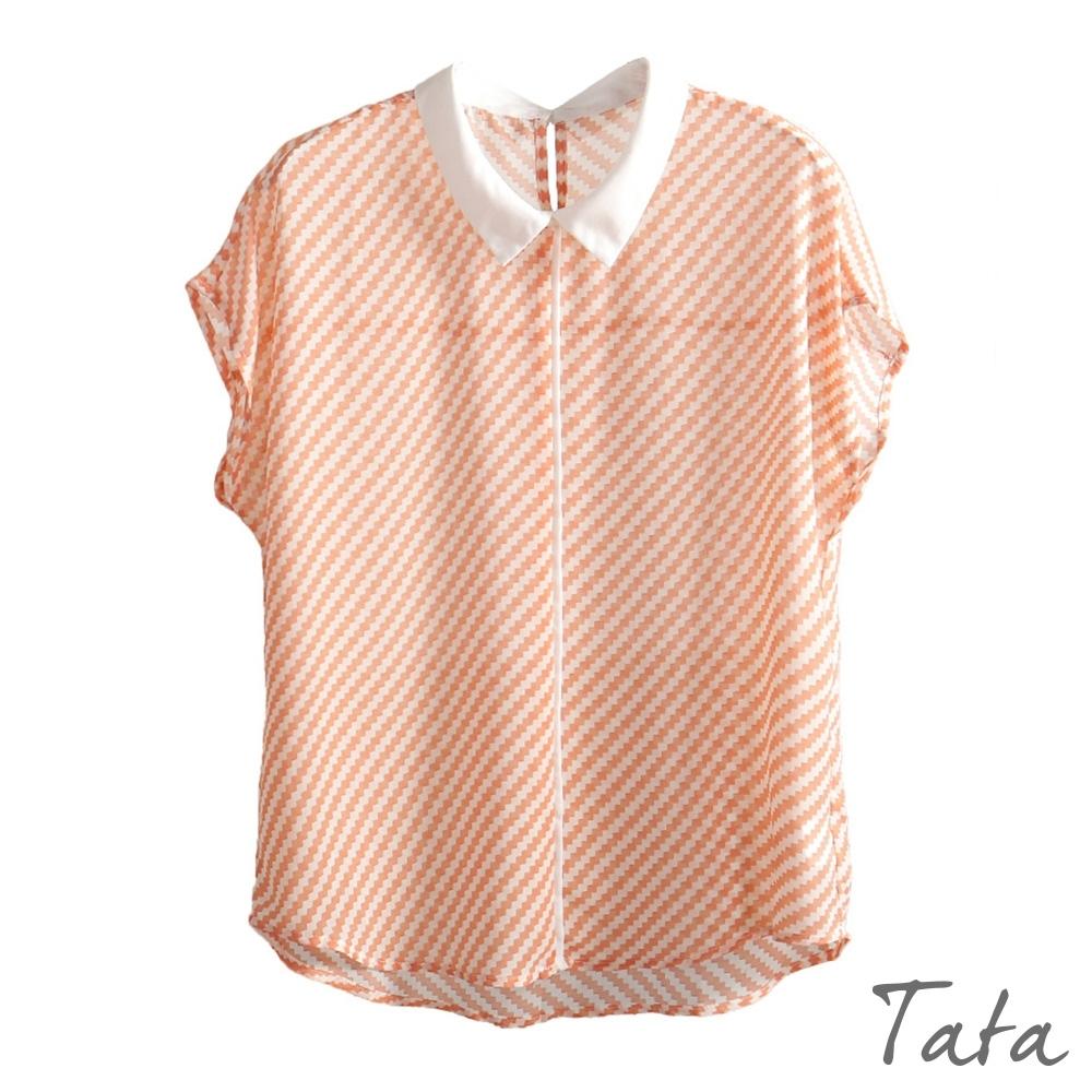 寬鬆斜條紋雪紡上衣 共三色 TATA-(M~XL)