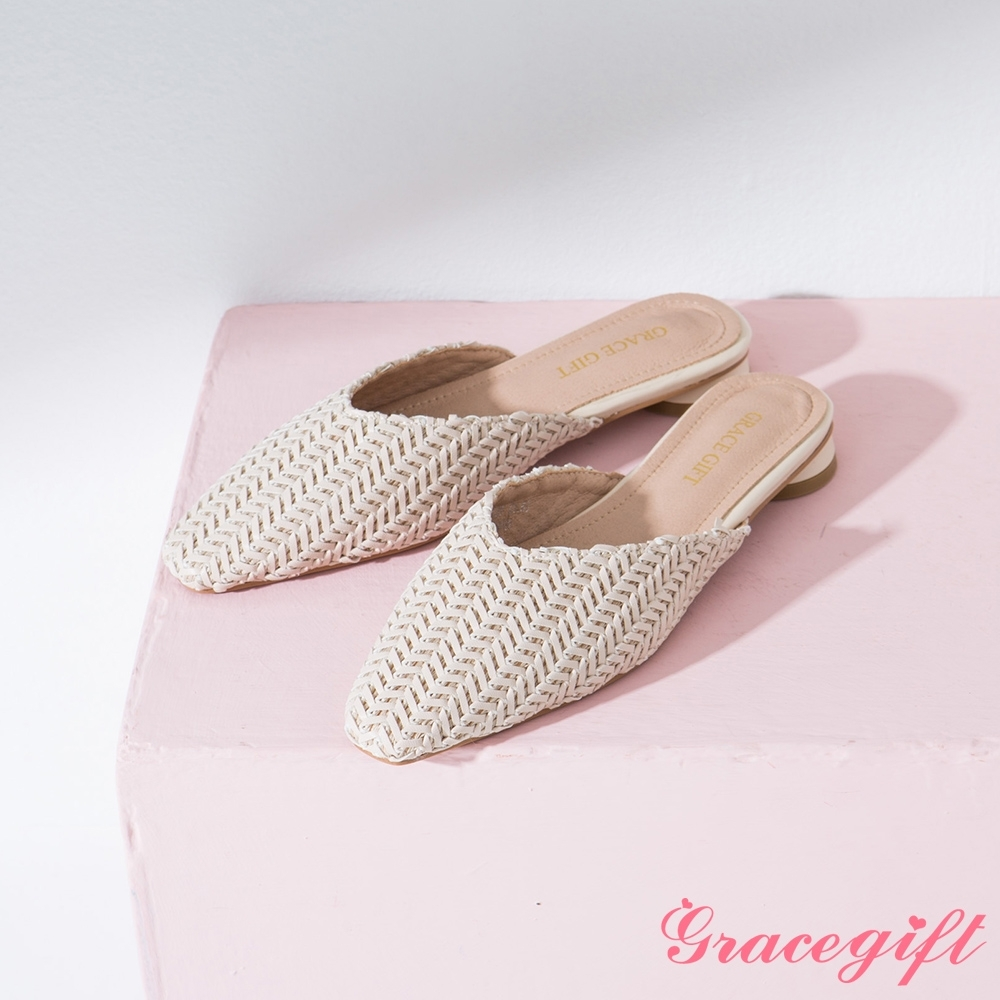 Grace gift-編織V口平底穆勒鞋 杏