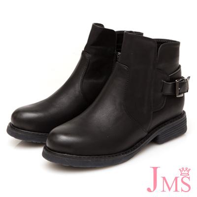 JMS-個性定番復古擦色後搭扣工程短靴-黑色