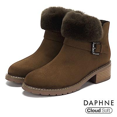 達芙妮DAPHNE 短靴-個性圓頭佐毛草木紋粗跟短靴-橄欖綠