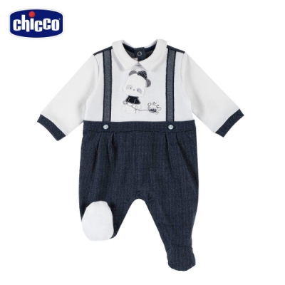 chicco- 熊貓小釣手-紳士吊帶有領後開兔裝