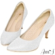 Ann'S浪漫真諦-耀眼菱格紋電鍍鞋跟氣墊尖頭跟鞋-銀 product thumbnail 1