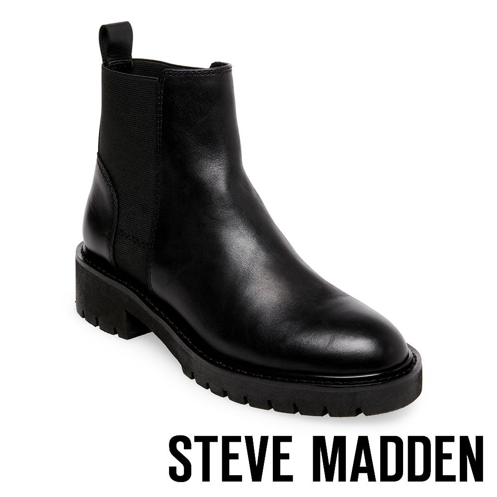 STEVE MADDEN-GLIDING時尚側鬆緊帶切爾西短筒靴-黑色