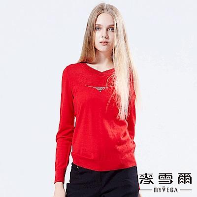【麥雪爾】金蔥滾邊V領羊毛針織上衣-紅