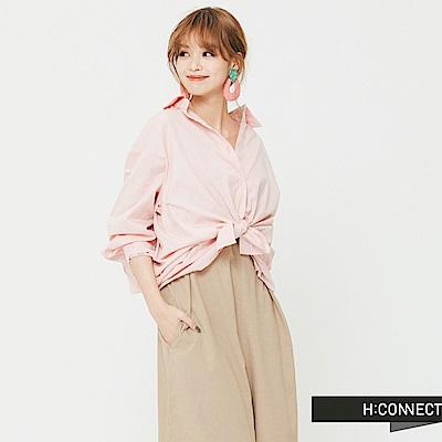 H:CONNECT 韓國品牌 女裝 -荷葉細摺短版襯衫-粉(快)
