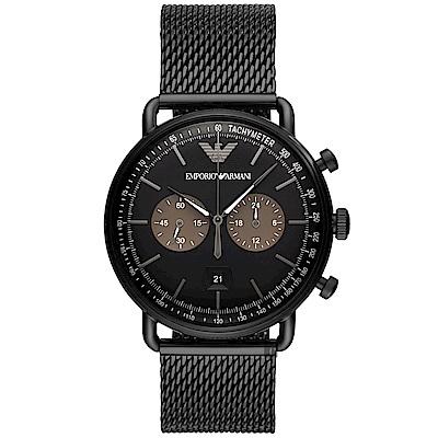 Emporio Armani Dress 亞曼尼計時手錶-鍍黑/42mm