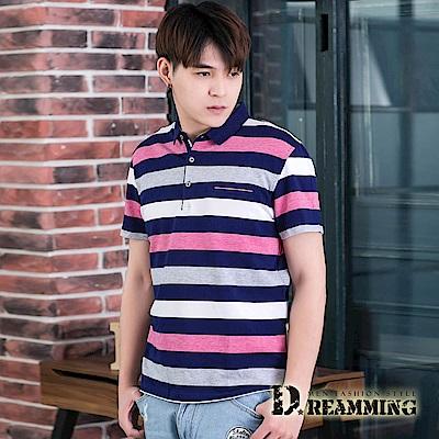 Dreamming 美式經典條紋透氣棉質彈力短POLO衫-共二色