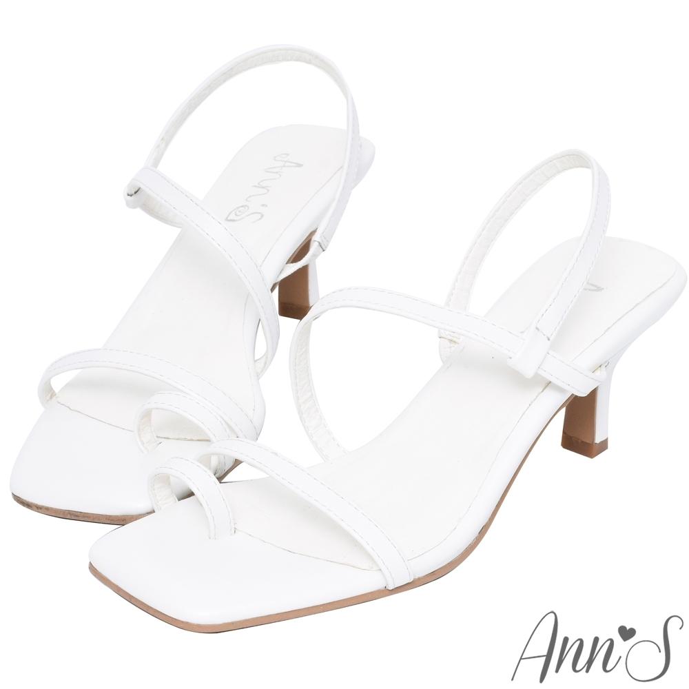 Ann'S性感秀美腿-顯瘦腳背弧線套指方頭酒杯跟涼鞋-白