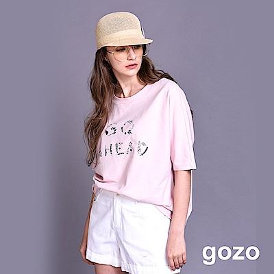 gozo GO AHEAD直覺刺繡字母五分袖棉T(三色)