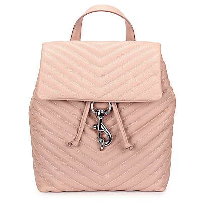 Rebecca Minkoff EDIE斜縫紋皮革抽繩束口手提/後背包-粉色