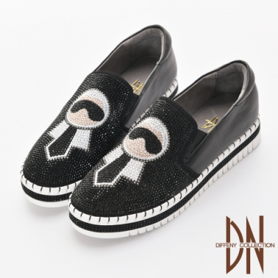 DN 電繡圖樣 真皮燙鑽縫線厚底休閒鞋-黑