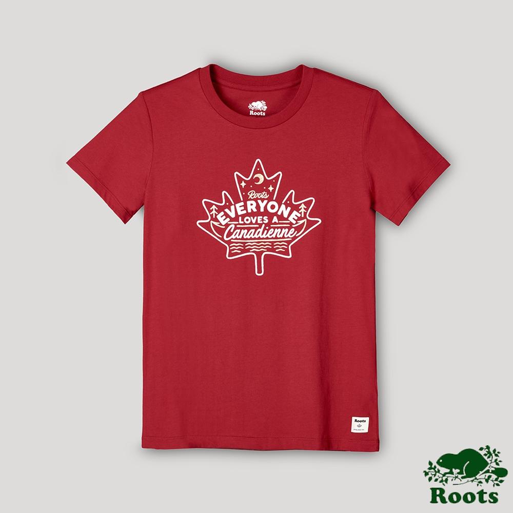 Roots女裝-愛最大加拿大日系列 大家都愛加拿大人短袖T恤-紅色
