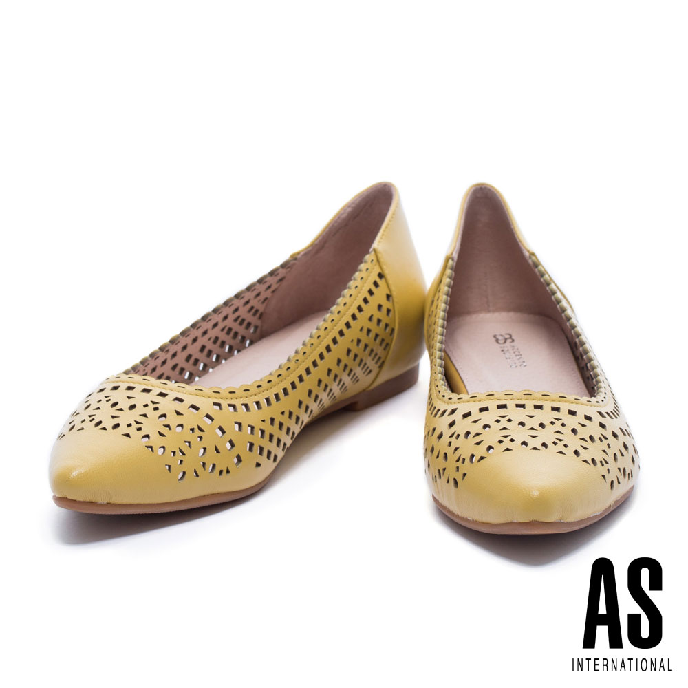 低跟鞋 AS 高雅細緻幾何冲孔羊皮低跟鞋-黃