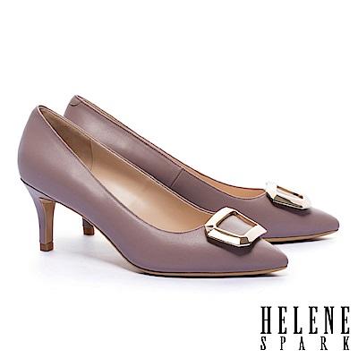 高跟鞋 HELENE SPARK 都市優雅金屬方釦羊皮尖頭高跟鞋-粉