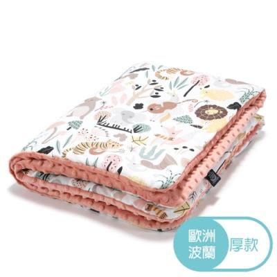 La Millou 暖膚毯加大-動物交響樂-果漾蜜桃粉-四季毯寶寶毯嬰兒毯遊戲墊毛毯
