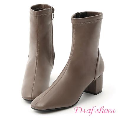 D+AF 韓流指標.簡約素面方頭中跟短靴*灰