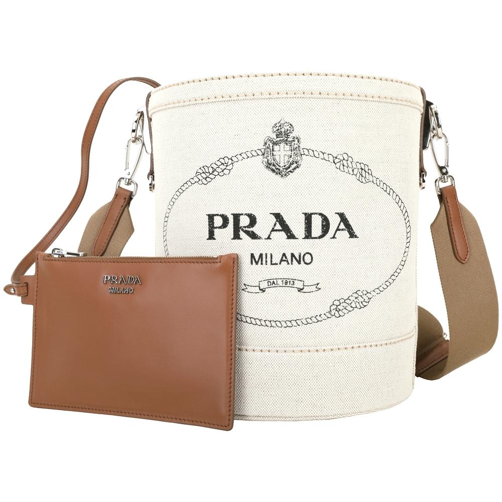 PRADA Mistolino 品牌徽標帆布肩背水桶包(米色)