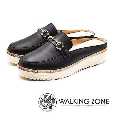WALKING ZONE (女)厚底增高穆勒鞋-黑(另有棕)