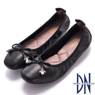 DN 經典芭蕾 軟牛皮蝴蝶結飾釦娃娃鞋-黑