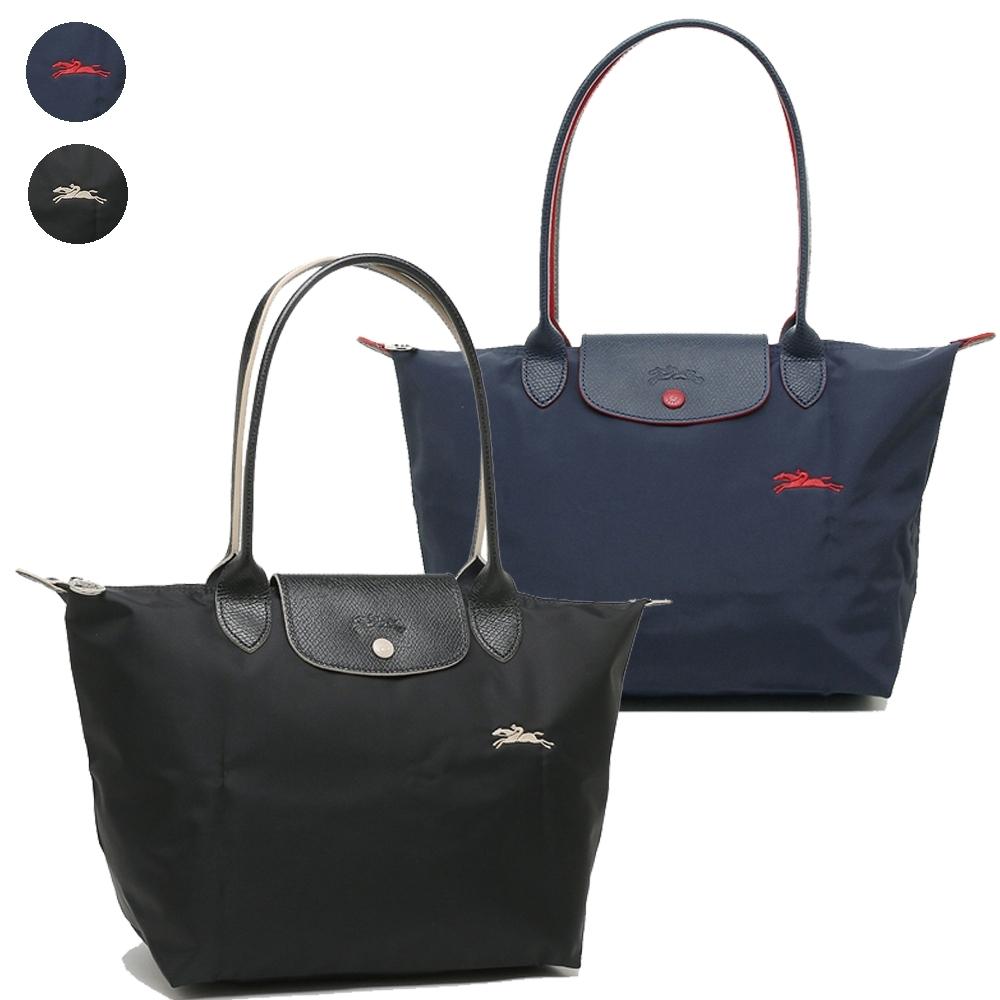 [時時樂限定] Longchamp Collection尼龍布刺繡品牌長把購物包(小款)