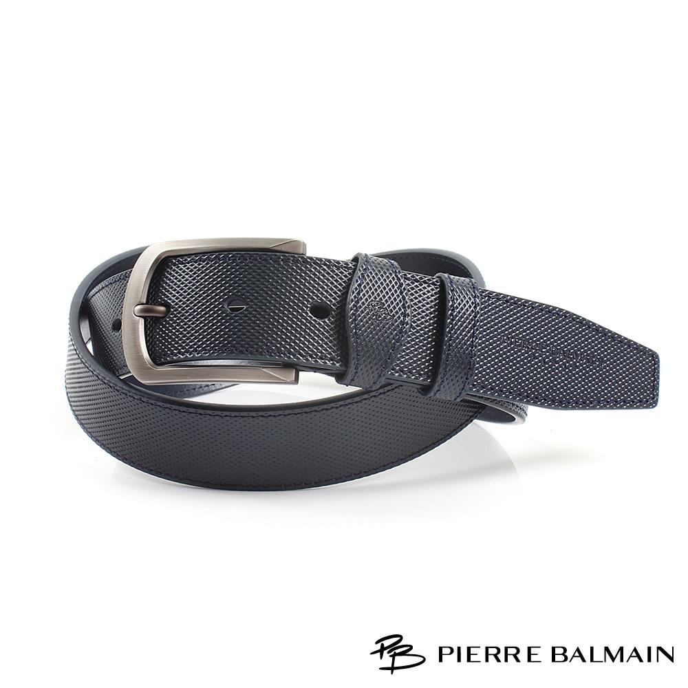 【PB皮爾帕門】方圓框粗點紋二層牛皮休閒針扣皮帶(885)
