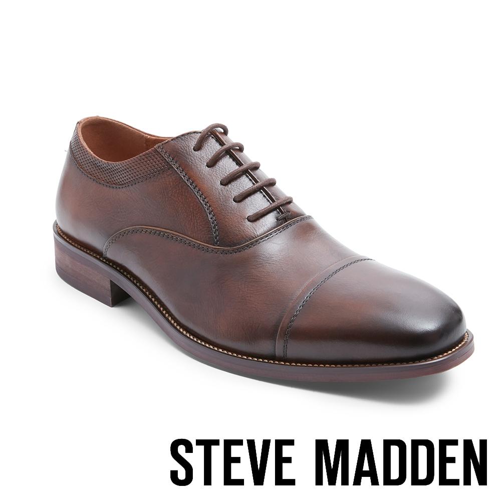 STEVE MADDEN-GLYMPSE 真皮男士美式拼接式紳士鞋-咖啡