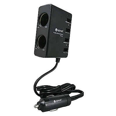 KINYO 2孔車用點煙器擴充座+4孔USB充電槽(CRU-26)